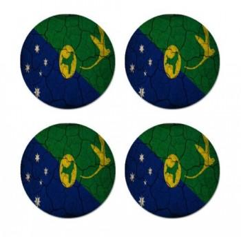 Christmas Island Flag Crackled Design Round Coasters - Set of 4