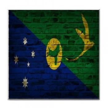 Christmas Island Flag Brick Wall Design Tile Trivet