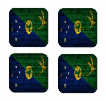 Christmas Island Flag Brick Wall Design Square Coasters - Set of 4