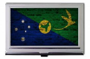 Christmas Island Flag Brick Wall Design Business Card Holder