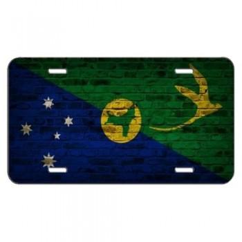 Christmas Island Flag Brick Wall Design License Plate