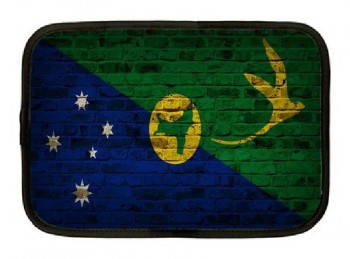 Christmas Island Flag Brick Wall Design Neoprene Sleeve - Fits All iPads and Tablets