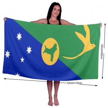 Fleavmei Christmas Island Flag Pride 31x51 Inch Microfiber Soft Pool Beach Bath Towel- Super Absorbent