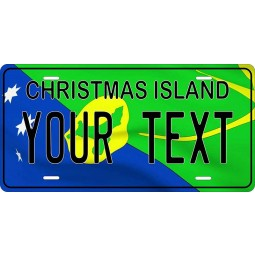 PhotoZoneGa Christmas Island Flag Wave Personalized Custom Novelty Tag Vehicle Car Auto Motorcycle Moped Bike Bicycle License Plate