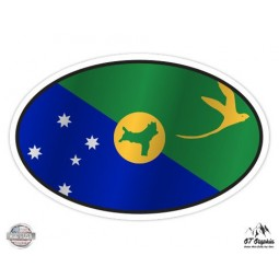 Christmas Island Flag Oval - Vinyl Sticker Waterproof Decal